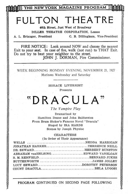 Dracula 1927 Playbill starring Bela Lugosi