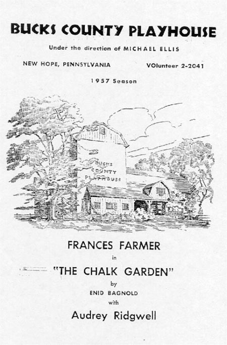 Francis Farmer The Chalk Garden Playbill from Bucks County Playhouse