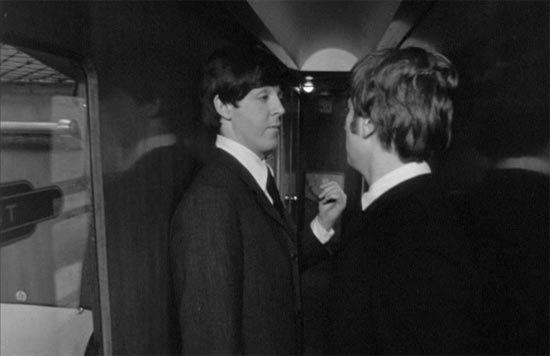 A Hard Day's Night, John and Paul on train