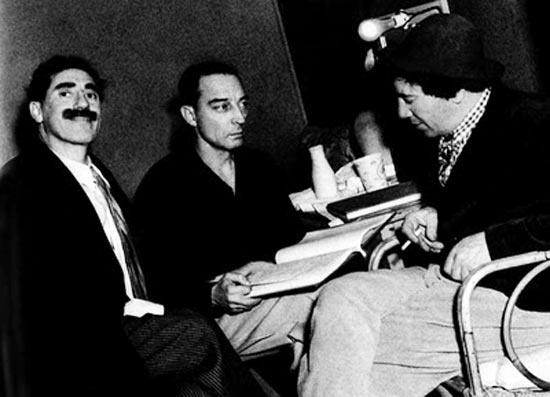 Buster Keaton with Groucho Marx and Chico Marx