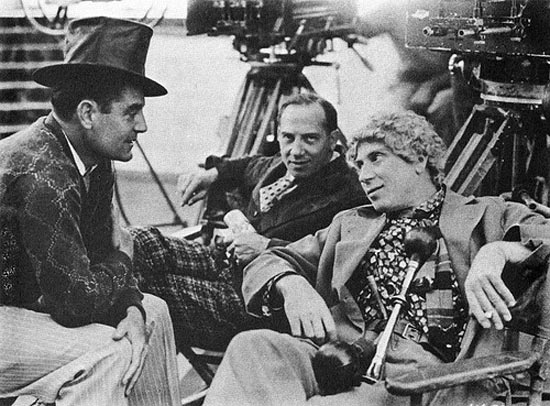 Director Leo McCarey on the set of Duck Soup with Chico and Harpo Marx 1933