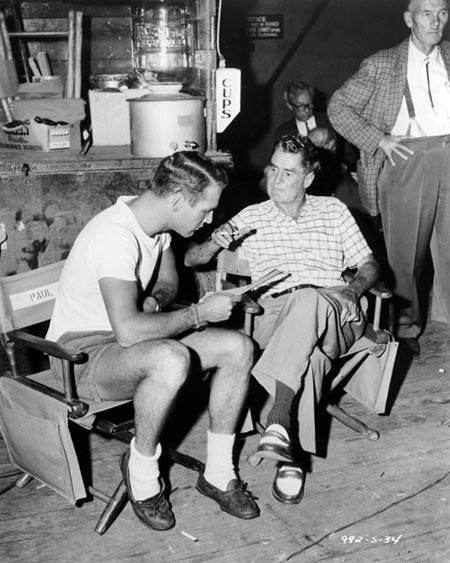 Director Leo McCarey with Paul Newman on the set of Rally Round the Flag Boys 1958