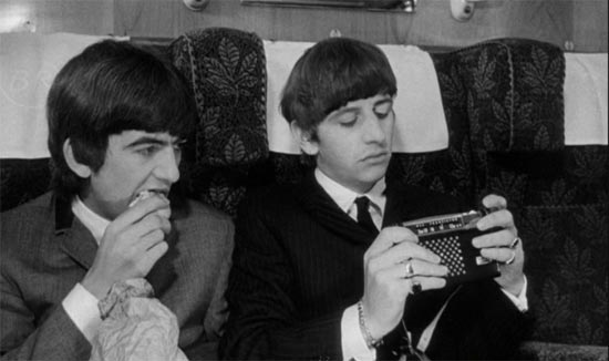 A Hard Day's Night, Ringo listens to radio
