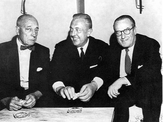 Buster Keaton with Jacques Tati and Harold Lloyd