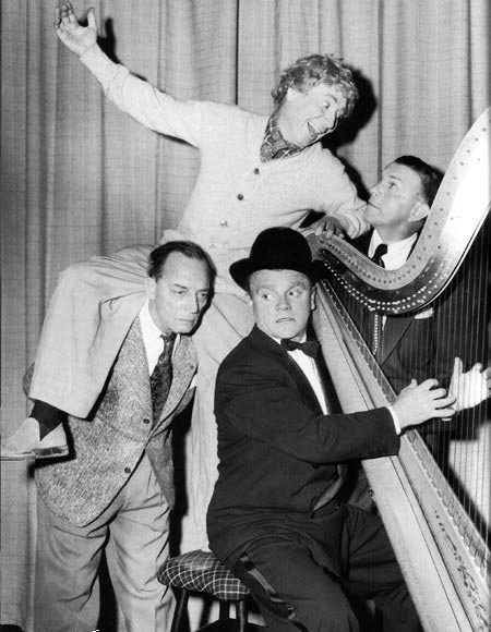 Harpo Marx, Buster Keaton, George Burns and James Cagney