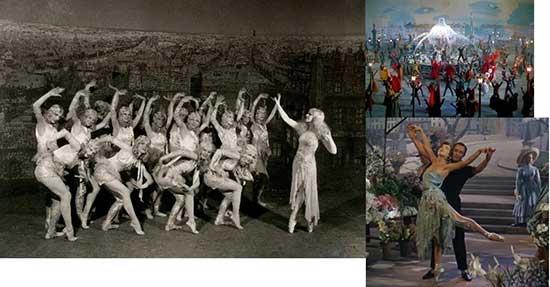 Harriet Hoctor and ballerinas; Gene Kelly, Leslie Caron, and dancers in 1951 film, An American in Paris