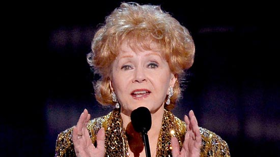 Actress Debbie Reynolds accepts the Life Achievement Award at the 21st Screen Actors Guild Awards. (Kevork Djansezian / Getty Images)