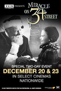 Miracle on 34th Street movie poster TCM and Fathom Events December 2015