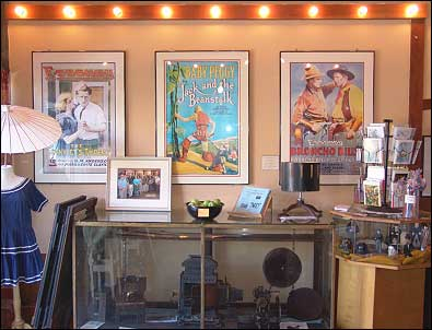 Displays like this show off memorabilia of the silent era, including reproductions of Essanay lobby posters. Photo: HPO collection.