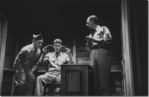 "Scene from the play ""No Time For Sergeants"" 1955 (Don Knotts on the right) . The play also starred Andy Griffith (not shown here). Photo: Yale Joel"
