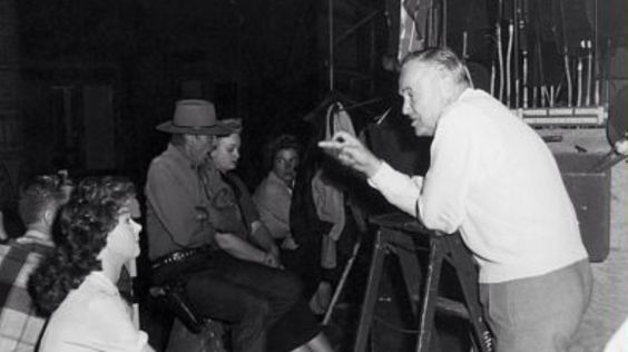 Director Henry Hathaway on the set of Garden of Evil with Susan Hayward and Gary Cooper