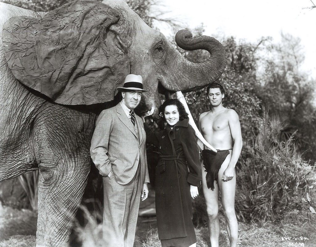 Director W.S Van Dyke, Maureen O'Sullivan and Johnny Weissmuller on the set of Tarzan