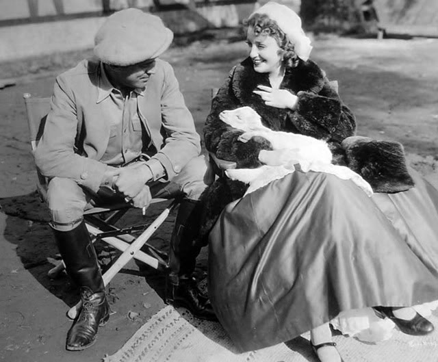 Director WS Van Dyke and Jeanette MacDonald on the set (with goat) of Naughty Marietta 1935