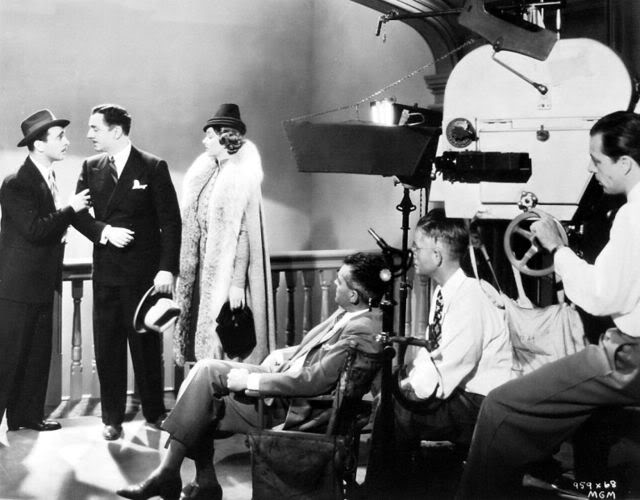 Filming After the Thin Man with Sam Levene, William Powell, Myrna Loy, director W.S. Van Dyke, cinematograher Oliver T. Marsh.jpg