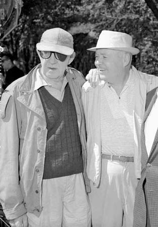 Henry Hathaway (right) with fellow director John Ford during the filming of How the West Was Won (1962)