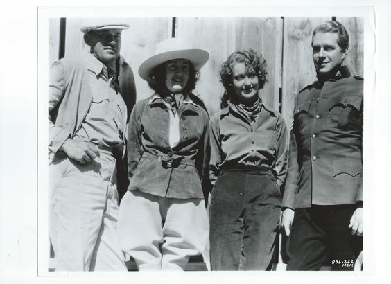 Woody and Ruth Van Dyke, Jeanette MacDonald and Nelson Eddy on the set of Rose Marie