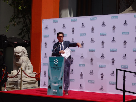 Roman Coppola introduces his father Francis Ford Coppola at the TCL Chinese Theatre Graumans Handprint and Footprint Ceremony 2016 TCMFF; photo credit: Annmarie Gatti for Classic Movie Hub (c) 2016 Classic Movie Hub