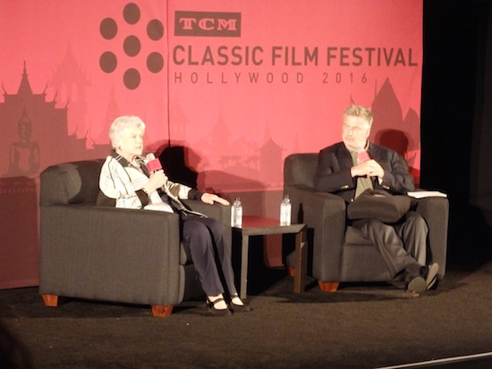 Angela Lansbury talks with Alec Baldwin during introduction at screening of The Manchurian Candidate at the 2016 TCMFF; photo credit: Annmarie Gatti for Classic Movie Hub; (c) 2016 Classic Movie Hub