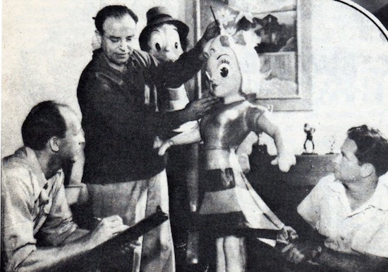 """Dave Fleischer overseeing animated rendering of one of the models deployed for """"Mr. Bug Goes to Town"""" (1941)"""