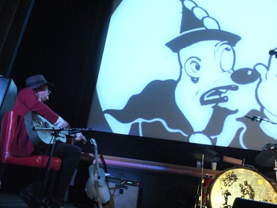 """Gary Lucas performing with his 1926 National steel guitar a live soundtrack to """"Koko's Earth Control"""" at the AFI Silver Theater Feb. 2016"""