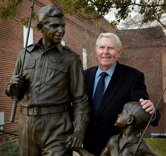 Andy Griffith at statue in his home town of mount airy