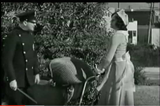 The Music Box, Laurel and Hardy, He kicked you? says the officer Sam Lufkin to nursemaid Lilyan Irene