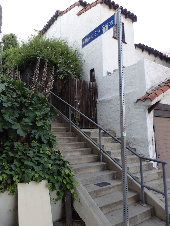 The Music Box Steps, Laurel and Hardy,  923-925 Vendome Street, Los Angeles, bottom of the staircase looking up, alternate view, photo: (c) 2016 Annmarie Gatti for Classic Movie Hub