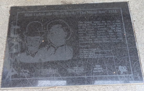 The Music Box Steps, Laurel and Hardy,  923-925 Vendome Street, Los Angeles, plaque at the bottom of the staircase, photo: (c) 2016 Annmarie Gatti for Classic Movie Hub