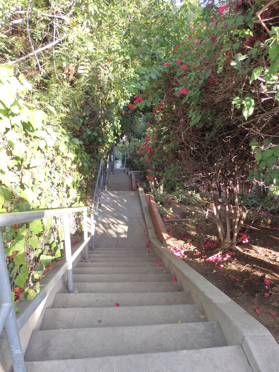 The Music Box Steps, Laurel and Hardy,  Los Angeles, top of staircase looking down, photo: (c) 2016 Annmarie Gatti for Classic Movie Hub