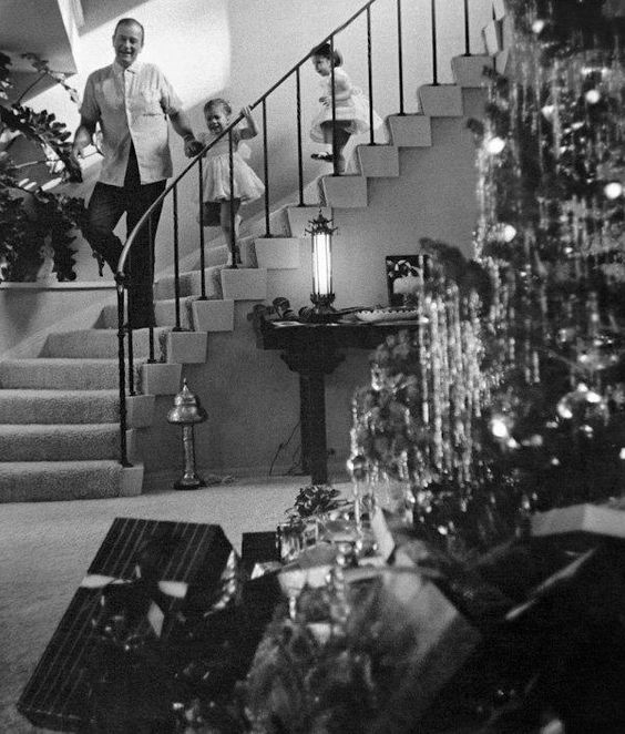 John Wayne with family on Christmas