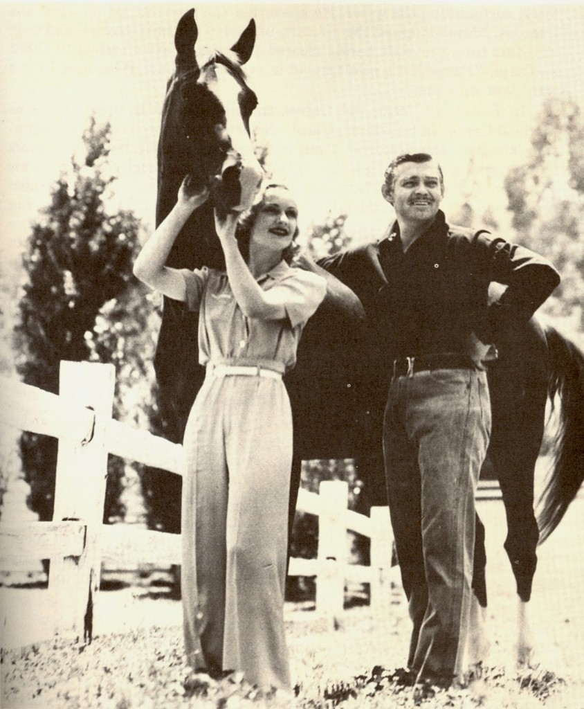 Carole Lombard and husband Clark Gable at their Encino Ranch. early 1940s.