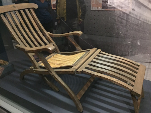 Titanic artifact deck chair Made of mahogany and unidentified hardwood, the chair bears a carved five-pointed star, the emblem of the White Star Line.