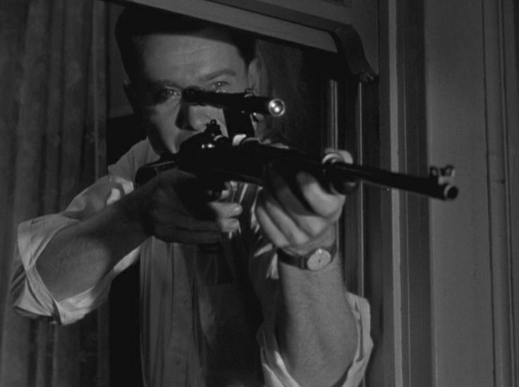 The Sniper, 1952, Arthur Franz, Eddie Miller in action