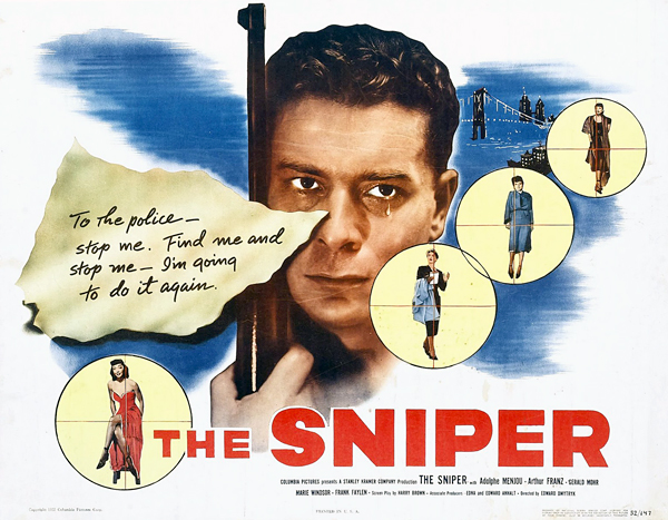 The Sniper, 1952, The film's appropriately grim poster.