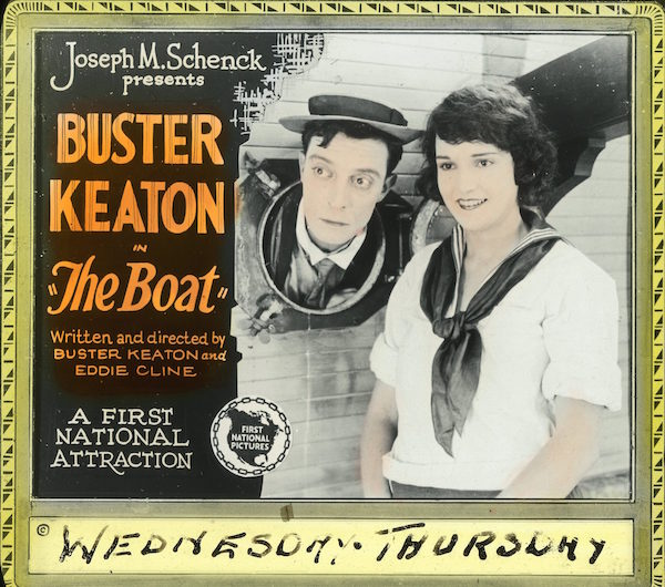Glass slide image of Sybil Seely and Buster Keaton for The Boat (121).