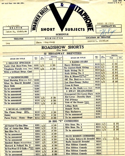 Vitaphone Shorts Rental Agreement