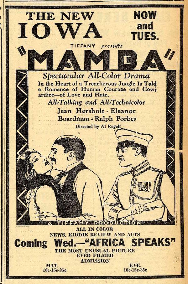 MAMBA ad 1930 film