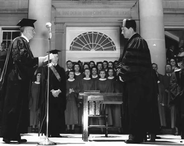 Spencer Tracy received an honorary degree from Ripon College in 1940 in front of the college library.