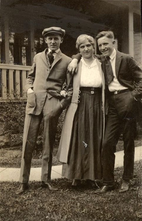 Younger brother Carroll Tracy, mother Carrie Tracy and Spencer Tracy. 1918 family photo