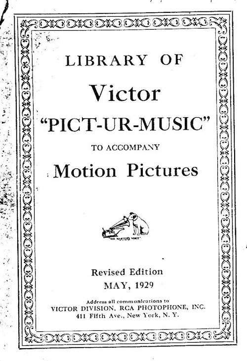 Cover of the Victor Pict-Ur-Music recordings catalog
