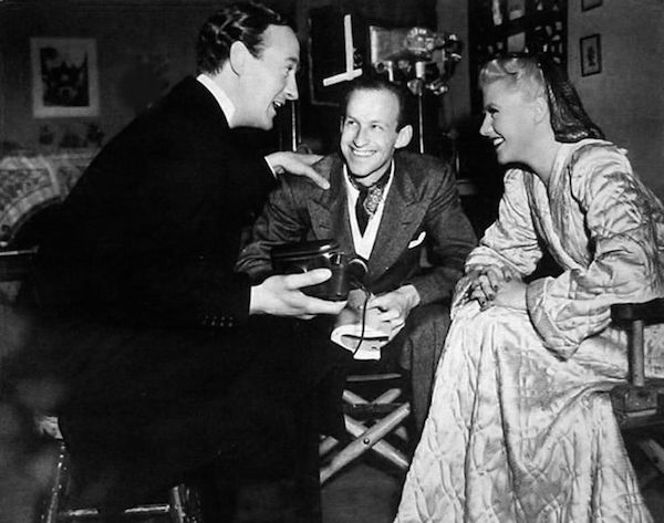 David Niven with Garson Kanin and Ginger Rogers on the set of Bachelor Mother