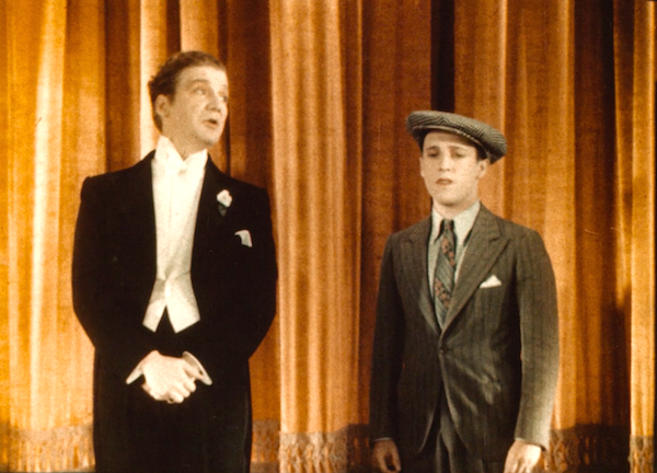 Technicolor fragment, lasting under a minute, recently found in England. Pictured from SHOW OF SHOWS (WB:'29) Arte Frank Fay (l) and comic Sid Silvers