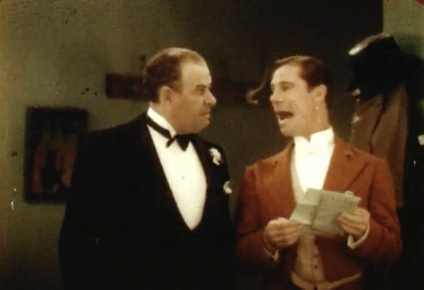 Recently found Technicolor fragment, lasting about 45 seconds, from SALLY (WB:'29). Ford Sterling (l) and Joe E. Brown