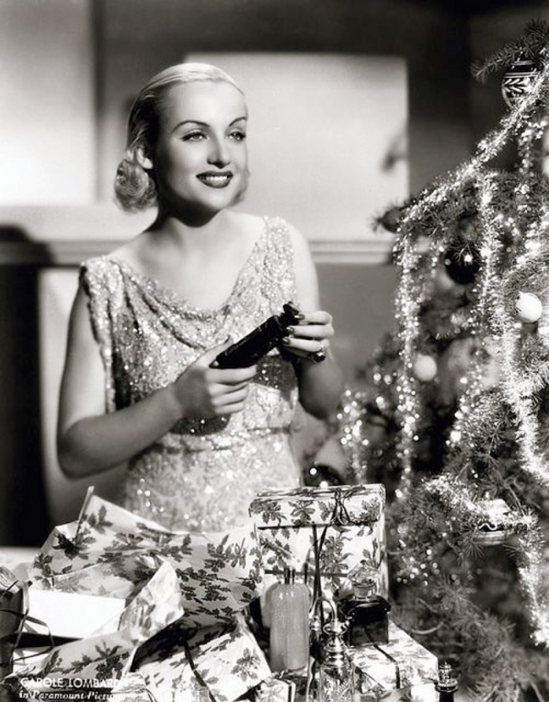 Carole Lombard with Christmas Tree