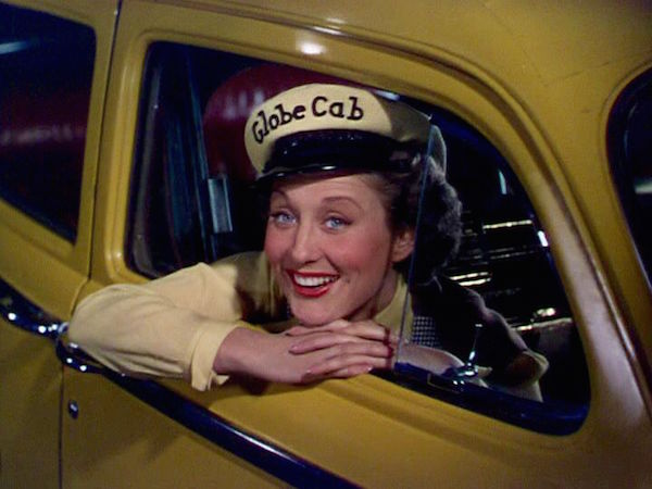 betty garrett in a taxi in the film on the town