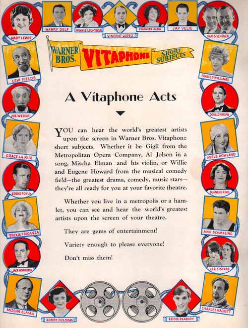 Vitaphone Acts Ad