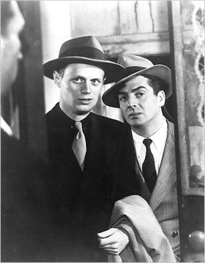 Richard Widmark with Victor Mature in Kiss of Death