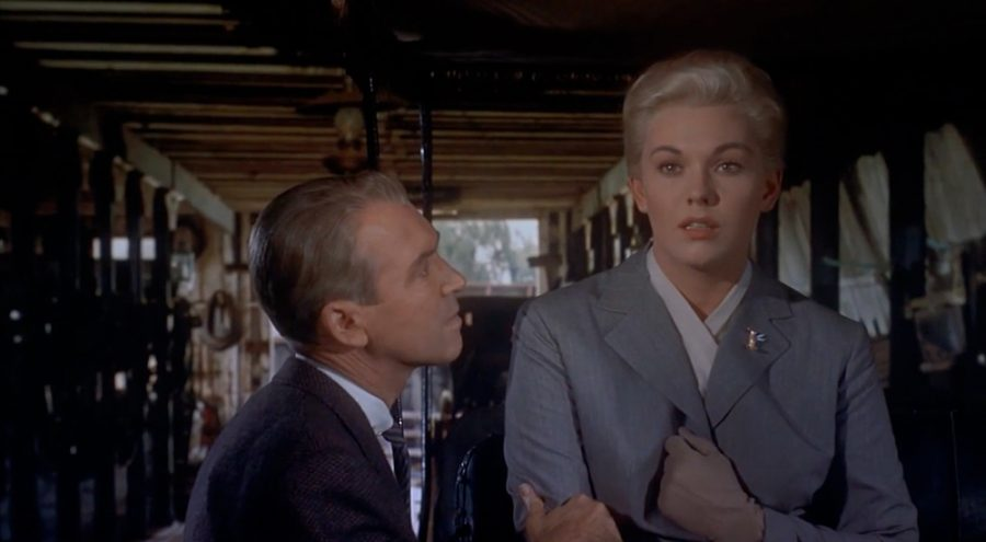 James Stewart and Kim Novak in Alfred Hitchcock's Vertigo