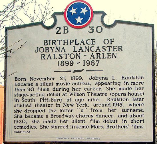 Jobyna Ralston Birthplace Marker in South Pittsburg