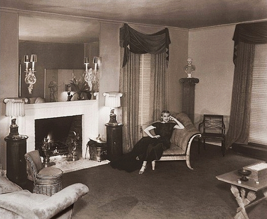 Carole Lombard in her Hollywood Boulevard home decorated by William Haines